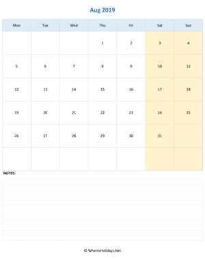 august 2019 editable calendar with notes vertical