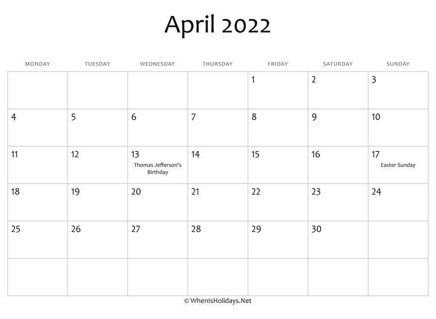 2022 April Calendar Printable.April 2022 Calendar Printable With Holidays Whenisholidays Net