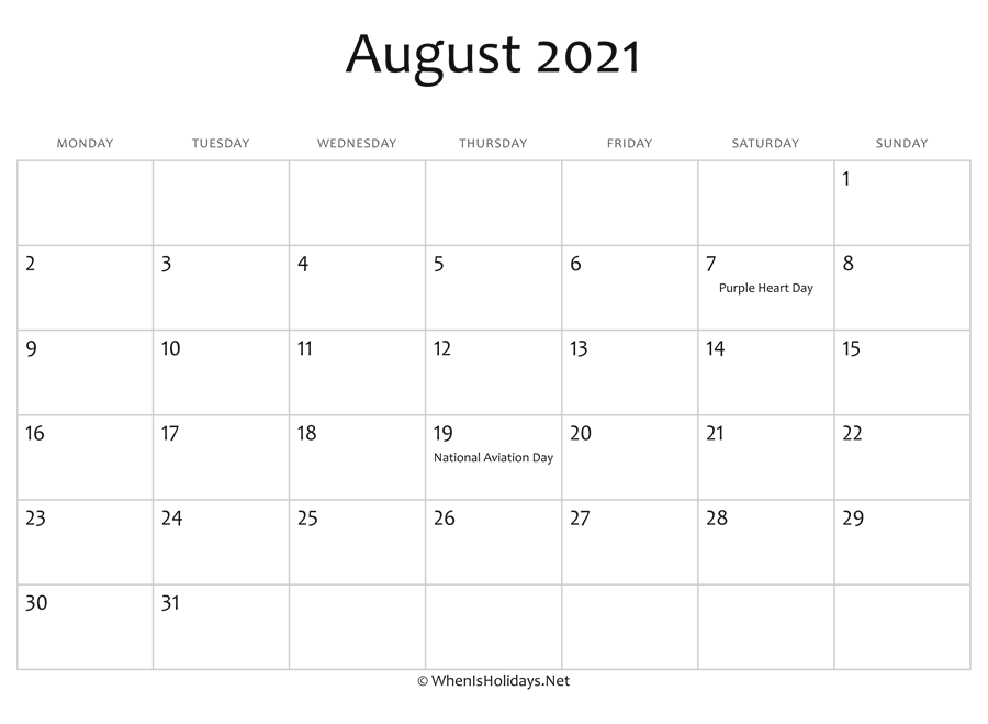 August 2021 Calendar Printable with Holidays ...