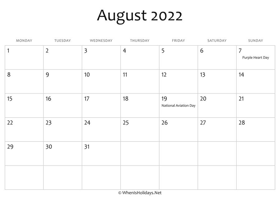August 2022 Calendar.August 2022 Calendar Printable With Holidays Whenisholidays Net
