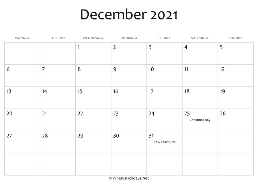 December 2021 Calendar Printable with Holidays | WhenisHolidays.Net