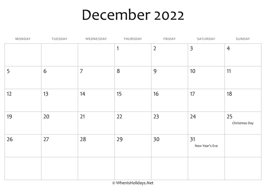 December 2022 Calendar With Holidays.December 2022 Calendar Printable With Holidays Whenisholidays Net