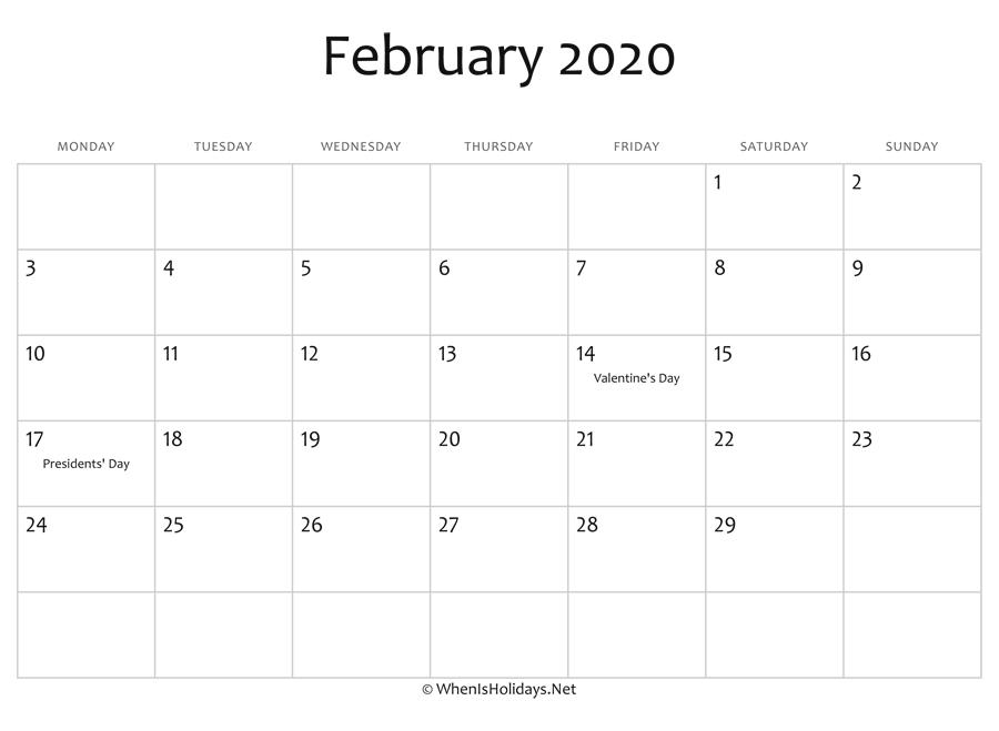 Presidents Day 2020 Calendar.February 2020 Calendar Printable With Holidays Whenisholidays Net
