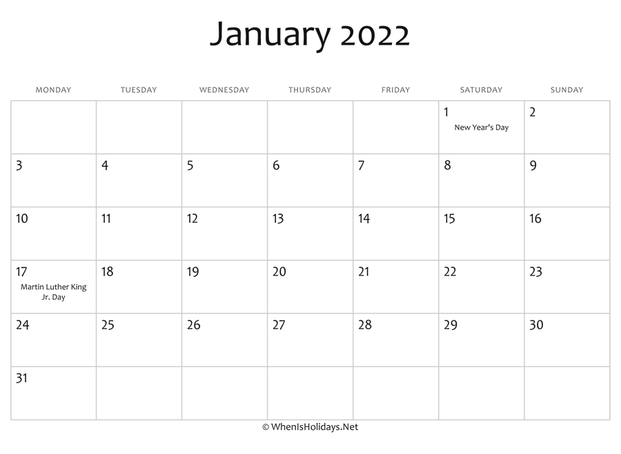 photograph relating to 2022 Calendar Printable identify January 2022 Calendar Printable with Holiday seasons