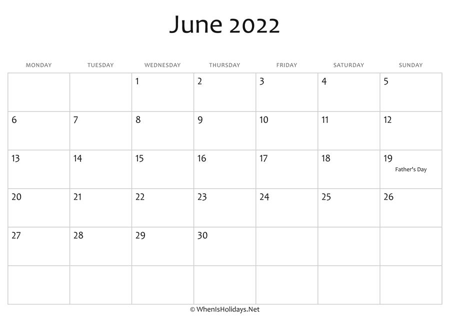 Blank Calendar For June 2022.June 2022 Calendar Printable With Holidays Whenisholidays Net