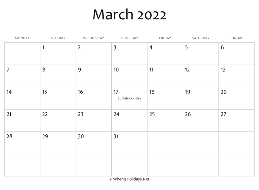 Calendar Template March 2022.March 2022 Calendar Printable With Holidays Whenisholidays Net