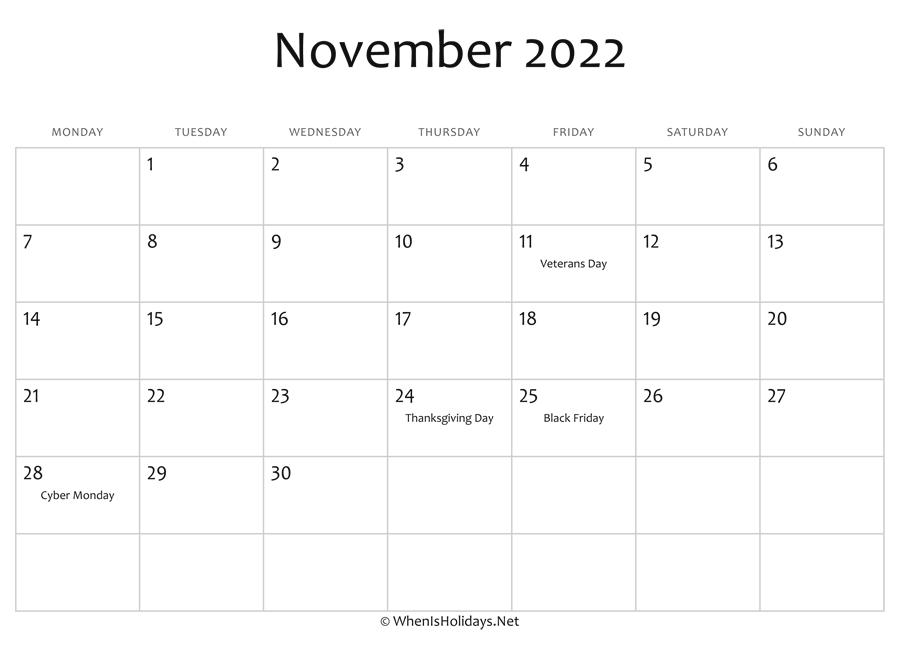 Blank November Calendar 2022.November 2022 Calendar Printable With Holidays Whenisholidays Net