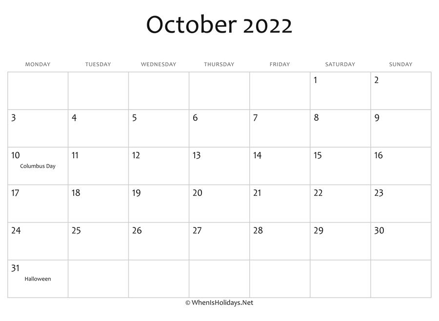 Calendar October 2022 Printable.October 2022 Calendar Printable With Holidays Whenisholidays Net