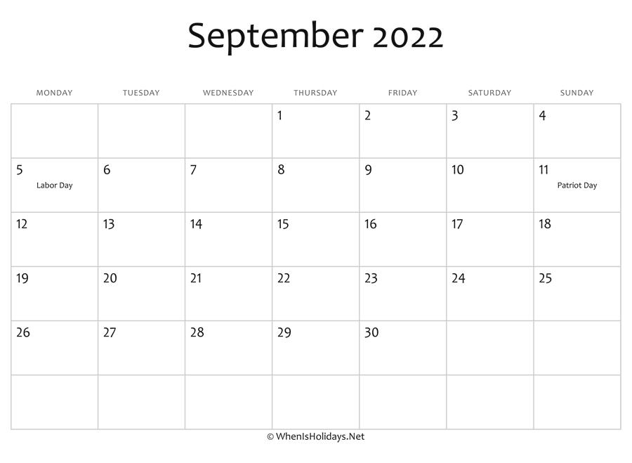 Blank Calendar For September 2022.September 2022 Calendar Printable With Holidays Whenisholidays Net